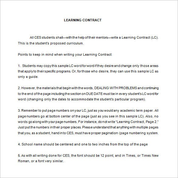 sample student learning contract