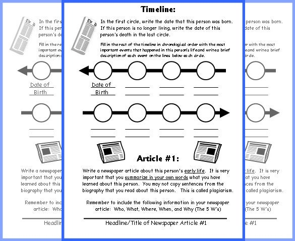 sample student newspaper timeline template for kids