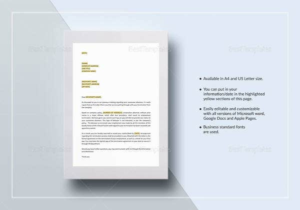 sample-termination-letter-excessive-absenteeism-template