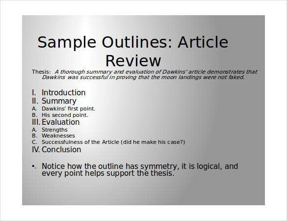 thesis of an article review