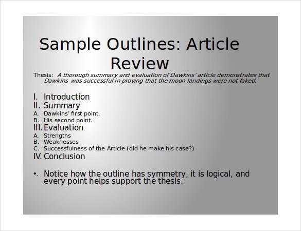 Article summary sample