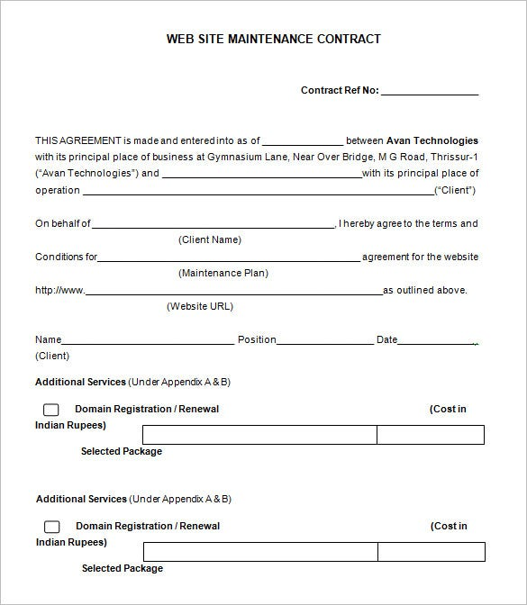 sample website maintenance contract free download. Resume Example. Resume CV Cover Letter