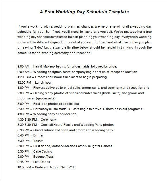 Ceremony And Reception Timeline: 30+ Wedding Timeline Templates