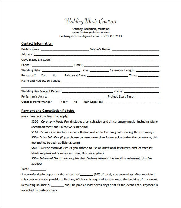 Sample Wedding Music Contract PDF Download
