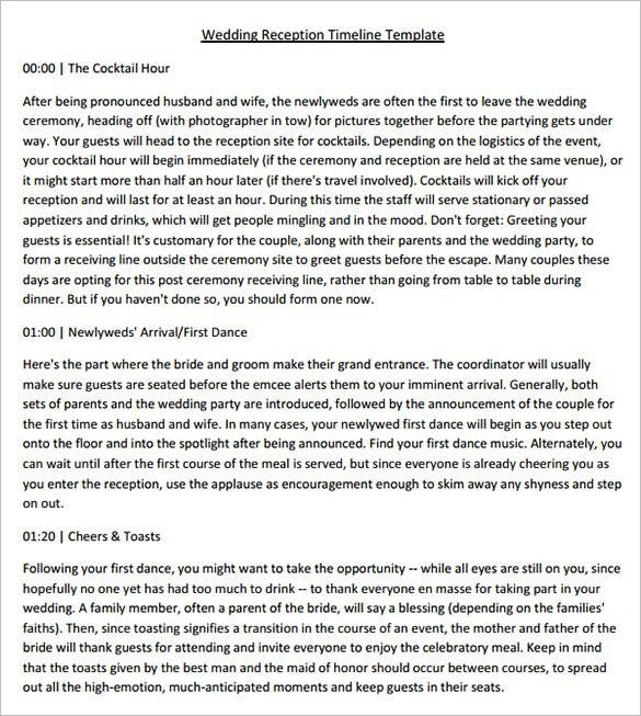 Sample wedding reception timeline template pdf download