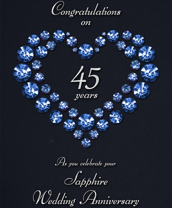 sapphire wedding anniversary card print design free download