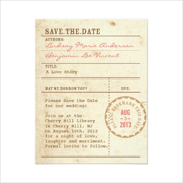 save the date library card invitation 1