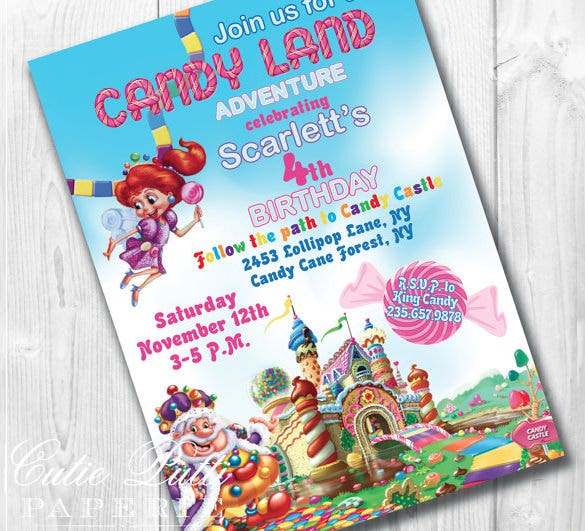 Scarletts Candyland Invitation Template