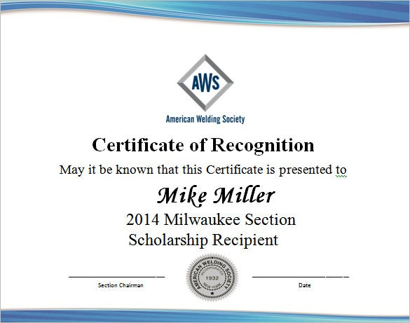 Scholarship Award Wording Template Free Download  Appreciation Certificates Wording