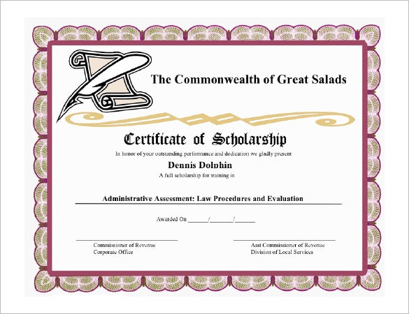 scholarship certificate sample koni polycode co