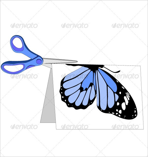 scissors with paper and butterfly 5