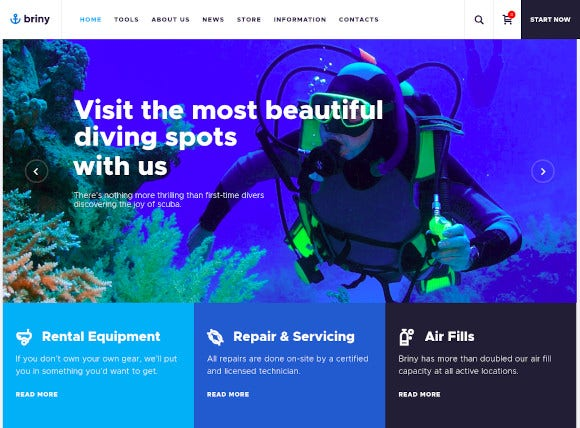 scuba diving water sports wordpress theme
