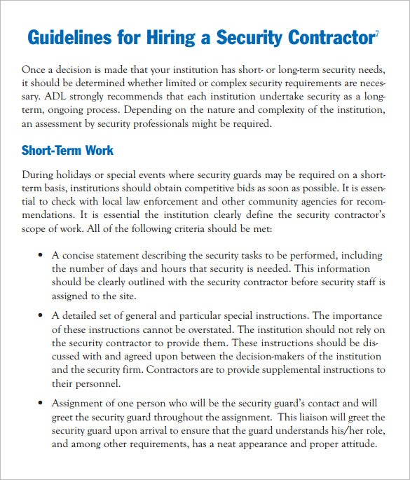 security contract template manager job description