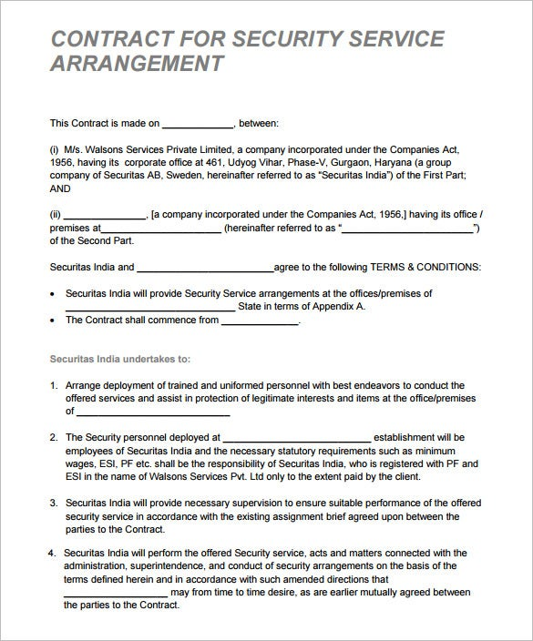 security contract for serivce arrangment pdf