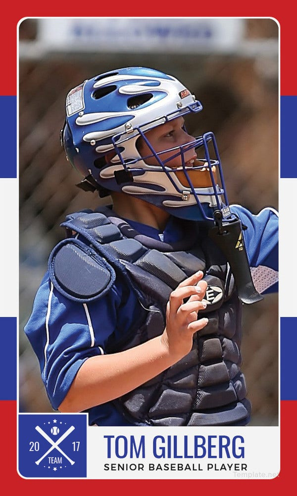 Senior Baseball Trading Card Template