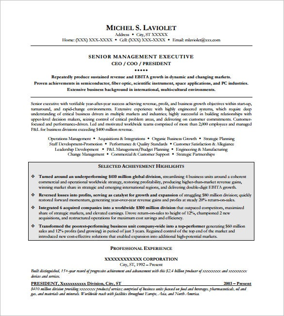 senior executive resume samples