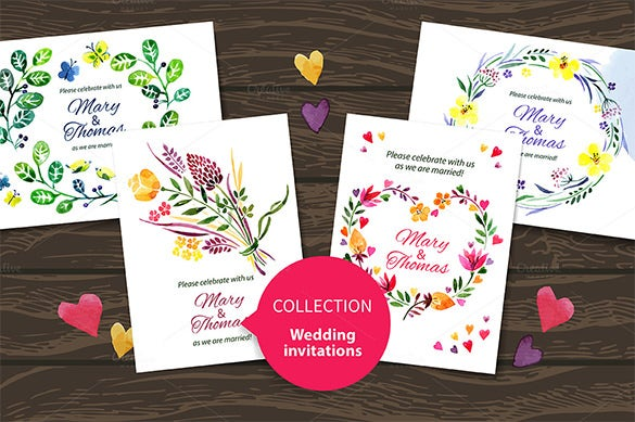 set of watercolor wedding eps card templates