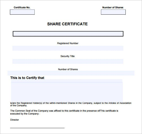 Shareholders Certificate Template