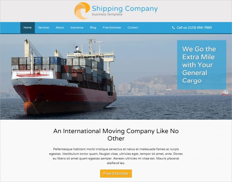 shipping company wordpress theme 788x619