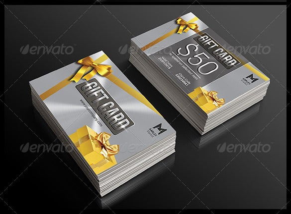 silver psd gift card template