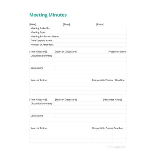 simple meeting minutes template