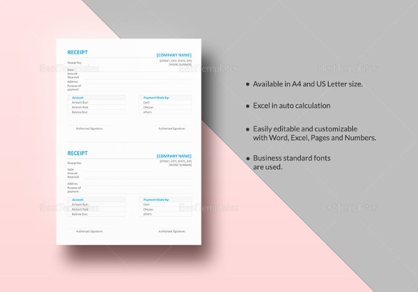Receipt Template Free Printable Word Excel AI PDF Format - Ms word invoice template free download louis vuitton online store