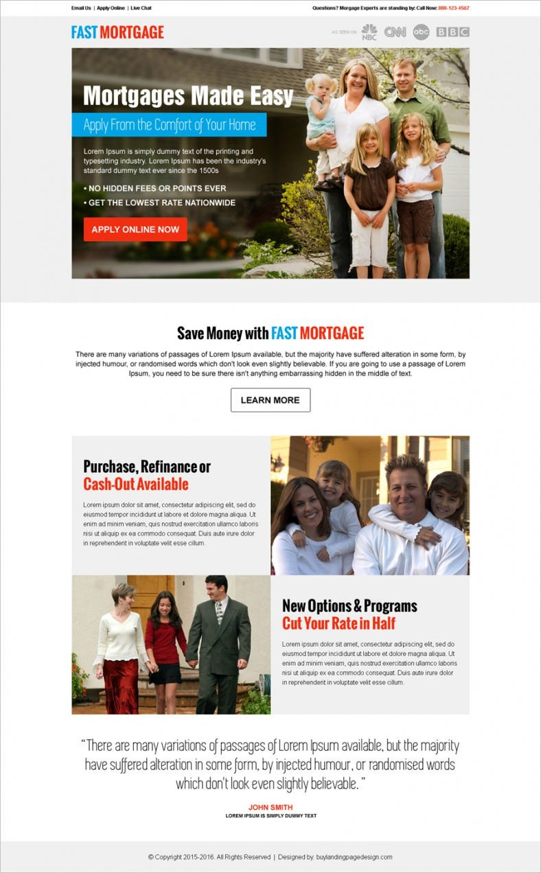 Simply Mortgage Landing Page Template  Mortgage Templates