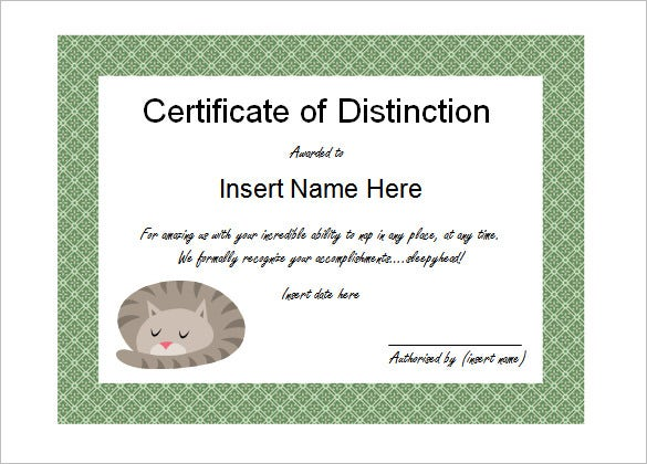 Elegant Sleepyhead Award Funny Certificate Template Editable  Fun Voucher Template