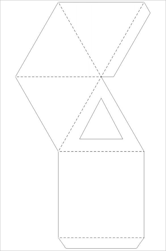 small pyramid paper box pattern template