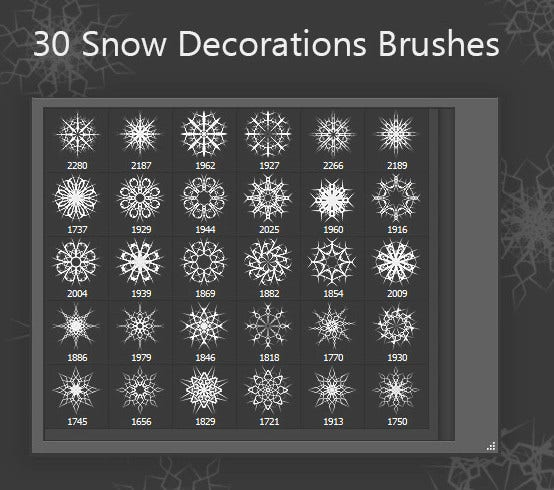 snow decorations brushes