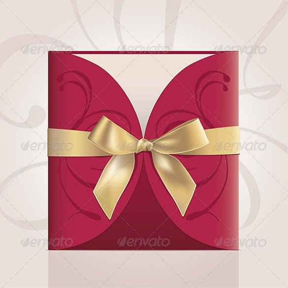 square card in gift envelope with golden ribbon