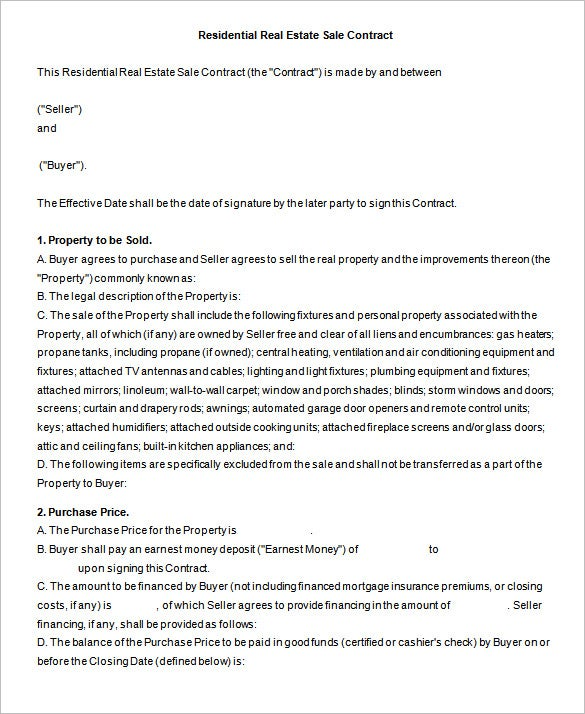 Good Standard Residential Real Estate Sale Contract Pertaining To Free Printable Real Estate Sales Contract