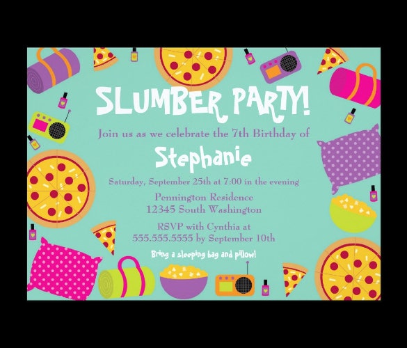 11 Creative Slumber Party Invitation Templates Designs – Sleepover Birthday Party Invitations