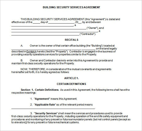 security contracts templates