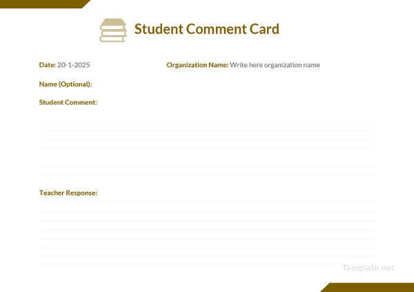 student-comment-card-template