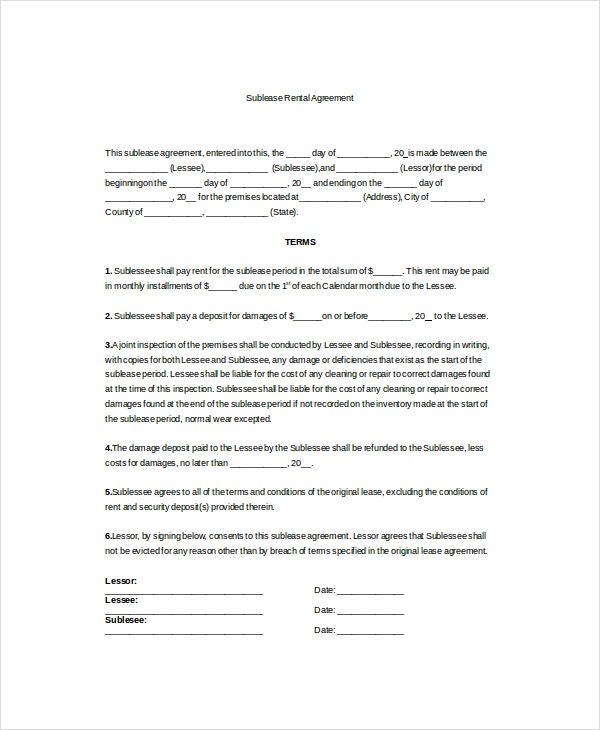 sublease rental agreement template1