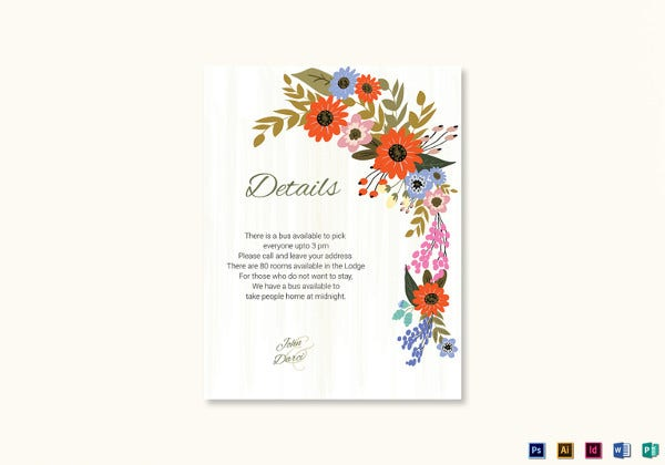 summer floral wedding details card psd template