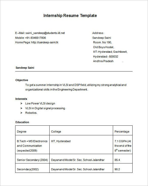 summer internship resume template free download