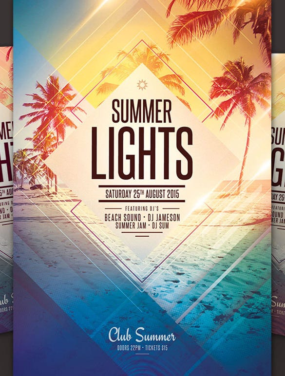 Party Flyer Summer Lights Beach Party Flyer Template  Amazing