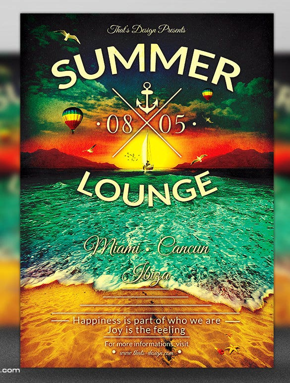 24 amazing psd beach party flyer templates designs free summer lounge beach party flyer template maxwellsz