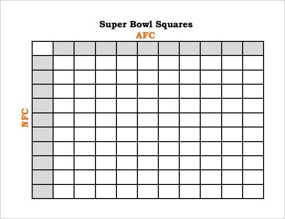 Square Grid 100 Boxes Office Pool Football. Super Bowl Squares ...