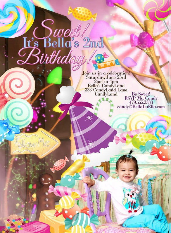 sweet candyland invitation template