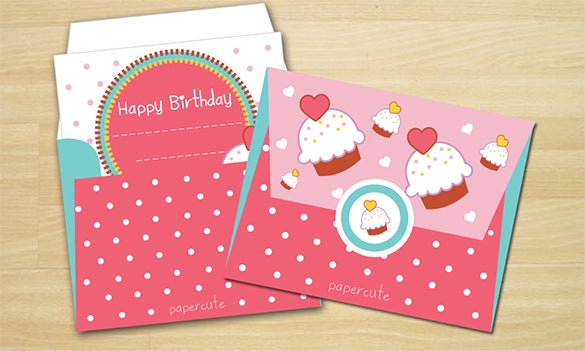 sweet cupcake gift card envelope template 3