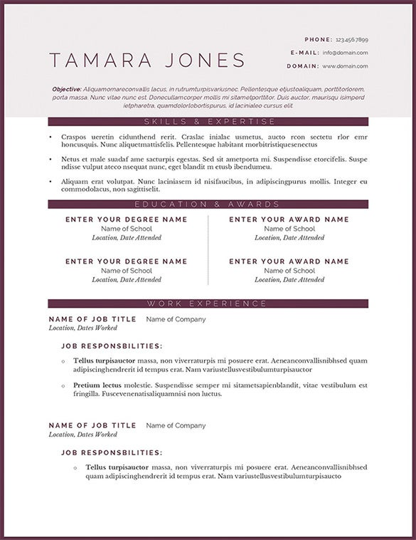 tamara jones plum resume template