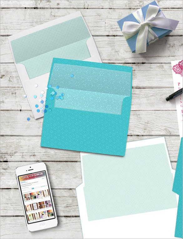 teal aqua blue white envelope 5x7 template digital download