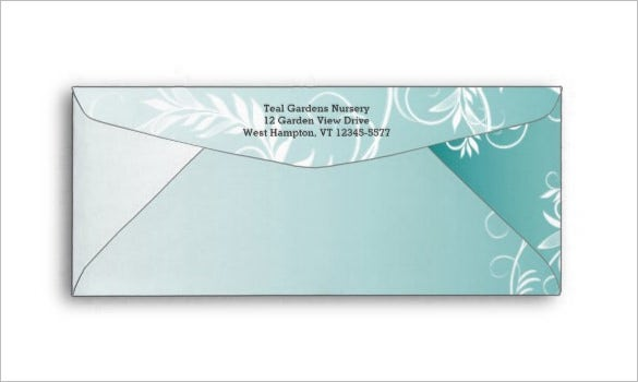 Teal Leafy Flourish 10 Size Business Envelope