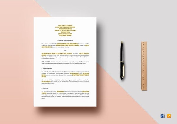 20 marketing agreement template free sample example format telemarketing agreement template in apple pages platinumwayz