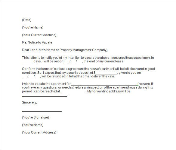 30 Day Notice To Vacate Letter Landlord Template - Letter Idea 2018