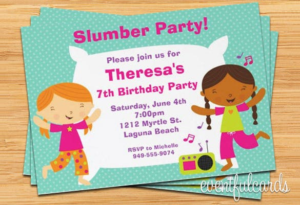 11 Creative Slumber Party Invitation Templates Designs – Free Printable Slumber Party Invitation Templates