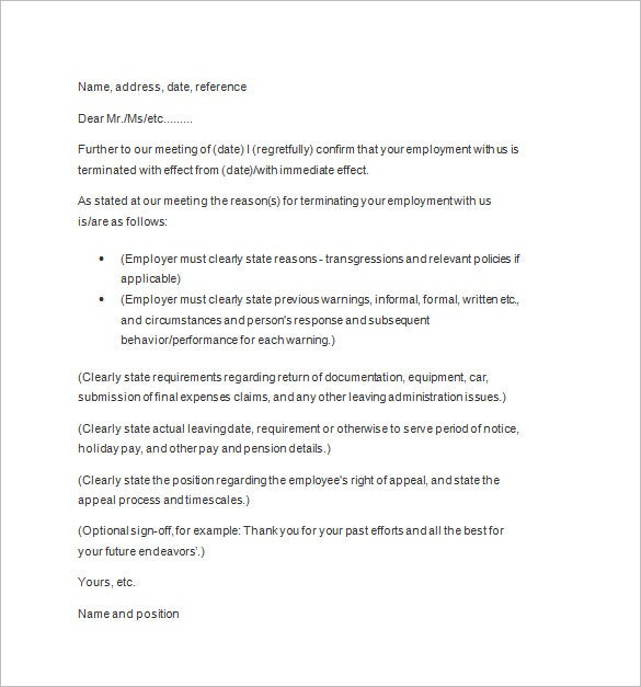 termination letter example template